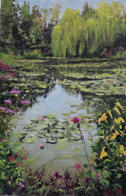 "Original oil painting. 'Monet's Garden' Lily pond in Monet's garden, Giverny, France. Oil on panel. 16"" x 24"""