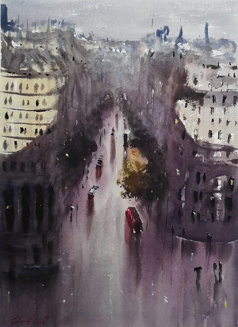 """Original Watercolour Painting For Sale. Special Edition inspired by the Monopoly board game. 'Northumberland Avenue' London cityscape. 11"""" x 15"""""""