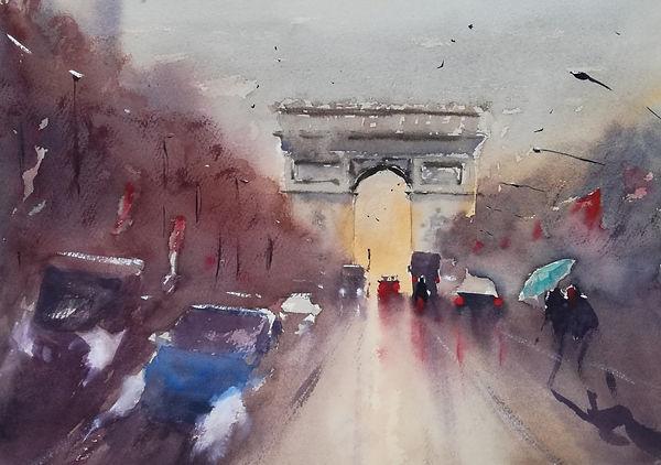 """Original Watercolour Painting For Sale. Arc de Triomphe, Paris. wet roads cityscape. Paris in the rain. France. 11"""" x 15"""""""