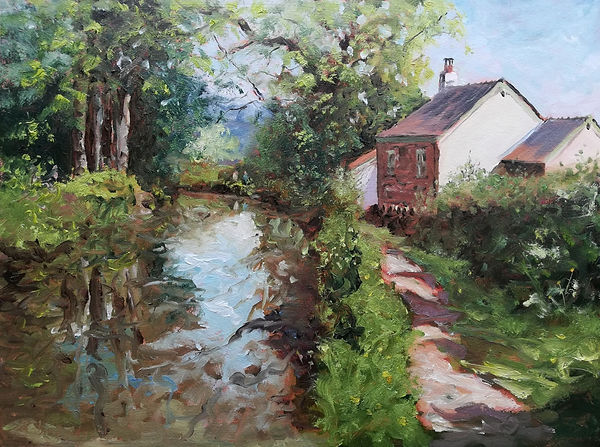 """Original Plein Air Oil Painting For Sale. Brecon Canal, Monmouthshire, South Wales, UK. 12"""" x 16"""" Oil on panel"""