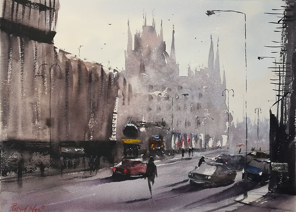"""Original Watercolour Painting by Robert Mee. Special Edition inspired by the Monopoly board game. 'Euston Road' 11"""" x 15"""""""