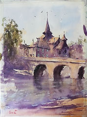 "Original Watercolour Painting. La Celle Dunoise, Central France. 11"" x 15"""