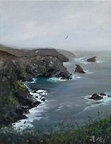 """Original Oil Painting For Sale. British coastline seascape rocky. 8"""" x 10"""" Oil on stretched canvas"""