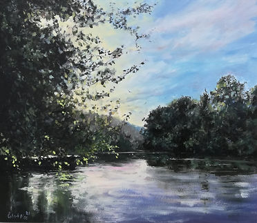 "Original Oil Painting. Dordogne river, near Domme, Southwestern France. 14"" x 12"" Oil on panel"