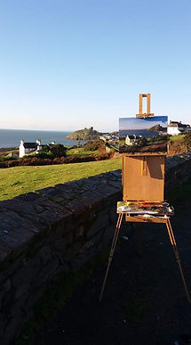 "Original plein air oil painting. Criccieth, North Wales, UK. 12"" x 16"""
