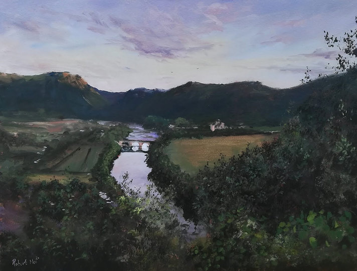 "Original oil painting. Dordogne River, Domme, South Western France. 12"" x 16"" oil on panel"