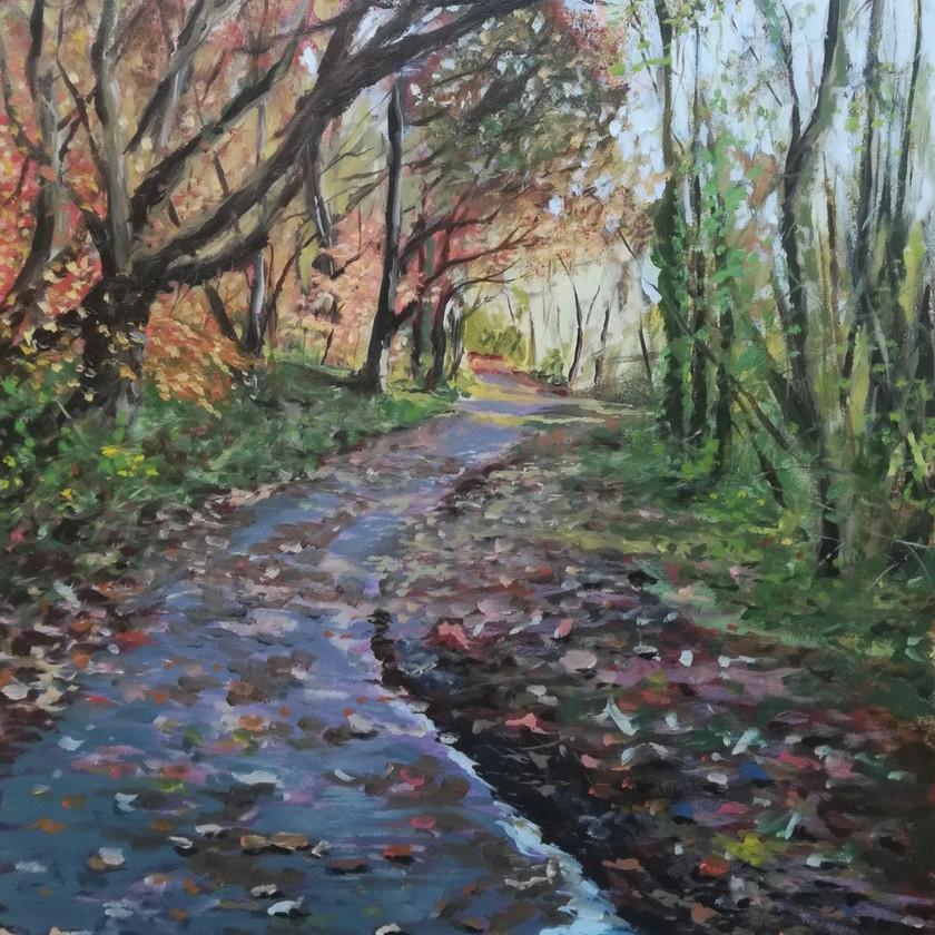 Llanerchaeron Walk oil painting
