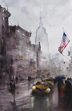 "Original Watercolour Painting by Robert Mee. 'New York in the rain'. 22"" x 15"""
