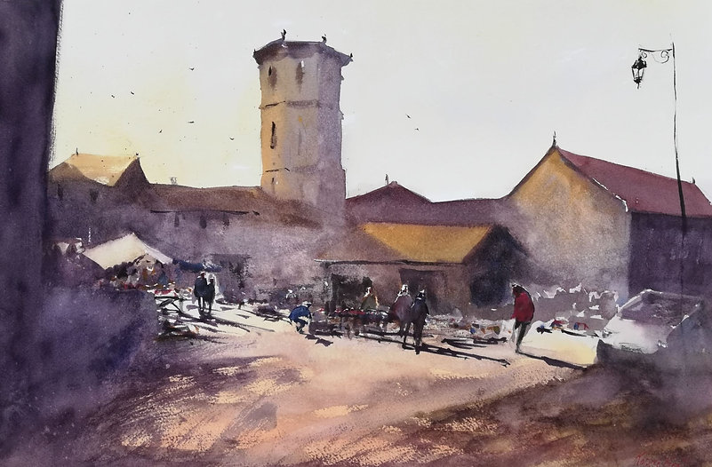 """Original Watercolour Painting by Robert Mee. Montcuq, Southern France. 22"""" x 15"""""""