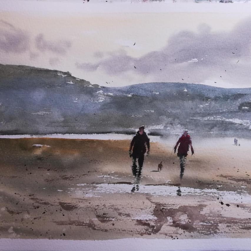 Watercolour dog walk on Newport Pembrokeshire