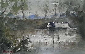 """Original Watercolour Painting Miniature by Robert Mee. Canal boat in early morning. 7.5"""" x 11"""""""