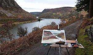 Original Watercolour Painting plein air Elan Valley, Mid Wales lake landscape countryside tranquility UK