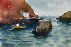 """Original Watercolour Painting Miniature by Robert Mee. Porthgain Harbour, Pembrokeshire, South West Wales, UK. 8"""" x 10"""""""