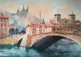 "Original Watercolour Painting. Pont Bonaparte bridge, Lyon, France. 11"" x 15"""