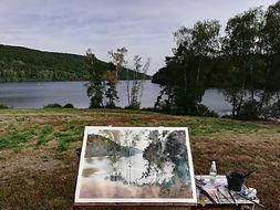 """Original Watercolour painting plein air Lac de Vassiviere, Creuse et Haute-Vienne, France lake landscape trees water 15"""" x 22"""""""