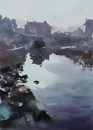 "Original Watercolour Painting. River Aeron, Aberaeron, Ceredigion, West Wales, UK. 11"" x 15"""