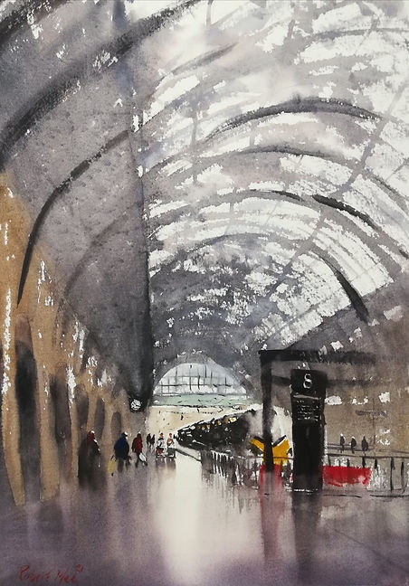 """Original Watercolour Painting by Robert Mee. Special Edition inspired by the Monopoly board game. 'Kings Cross Station' 11"""" x 15"""""""