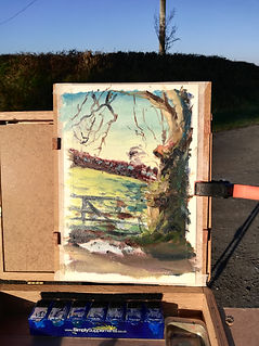 Oil painting plein air sketch. Ffosyffin, Ceredigion, West Wales. Over field on cold winter's morning. Countryside landscape