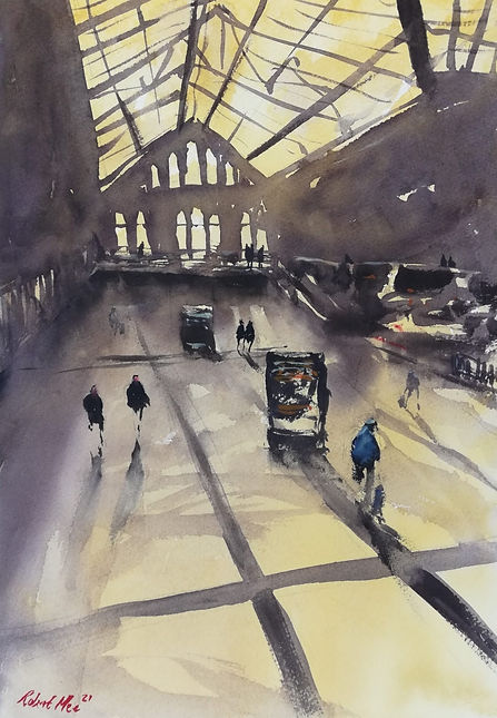 """Original Watercolour Painting For Sale. Special Edition inspired by the Monopoly board game.'Liverpool Street Station' london train station. 11"""" x 15"""""""