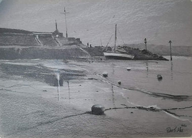 "Original Pencil Drawing. New Quay beach and harbour, Ceredigion, West Wales. 9"" x 12"""