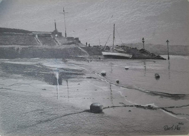 """Original Pencil Drawing. New Quay beach and harbour, Ceredigion, West Wales. 9"""" x 12"""""""