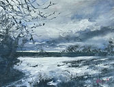"Original Oil Painting. A Winter's Day. Oil on canvas panel. 8"" x 6"" miniature"