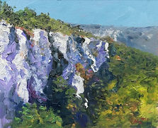 "Original Oil Painting Miniature by Robert Mee. Roc d'Anglars, near St. Antonin Noble Val, South Central France cliffs landscape. 8"" x 10"""