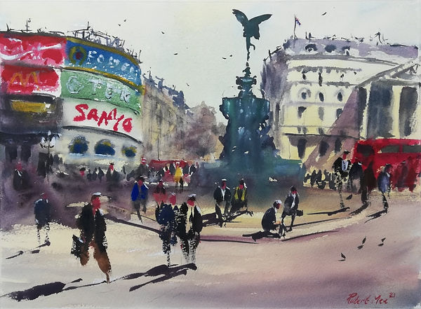 """Original Watercolour Painting by Robert Mee. Special Edition inspired by the Monopoly game. 'Piccadilly Circus' 11"""" x 15"""""""