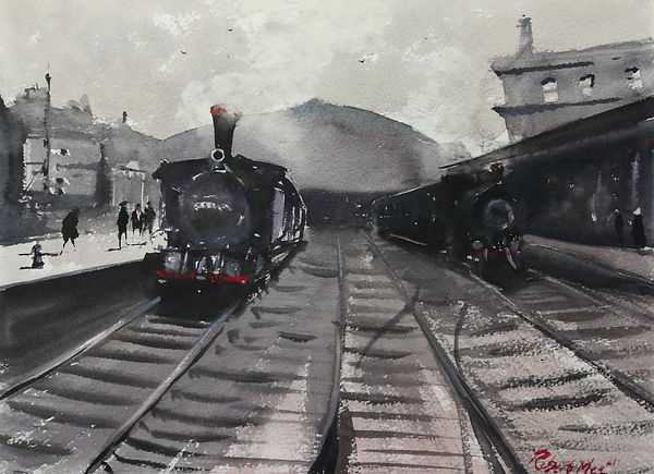 """Original Watercolour Painting by Robert Mee. Special Edition inspired by the Monopoly game. 'Fenchurch Street Station' 11"""" x 15"""""""