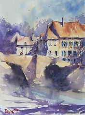 "Original Watercolour Painting. Chambon-sur-Voueize, Creuse, Central France. 11"" x 15"""