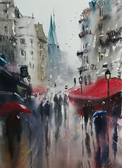 "Original Watercolour Painting. Rainy day in Paris, France shopping. 11"" x 15"""