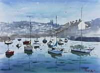 """Original Watercolour Painting. Boats in Aberaeron Harbour, Ceredigion, West Wales, UK. 11"""" x 15"""""""