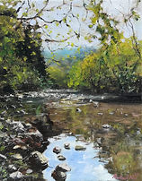 """Original Oil Painting For Sale. River landscape reflections rocks countryside. 8"""" x 10"""" Oil on stretched canvas"""
