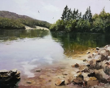 "Original Oil Painting. Tranquil lake in Southern France. Oil on panel. 10"" x12"""