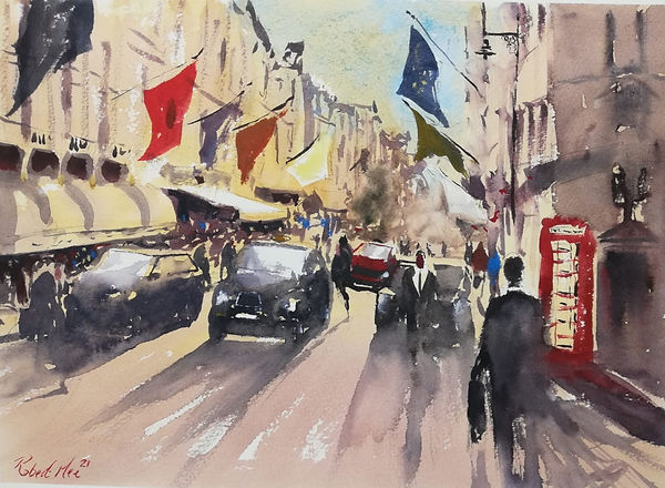 """Original Watercolour Painting For Sale. Special Edition inspired by the Monopoly board game. 'Bond Street' London Cityscape. 11"""" x 15"""""""