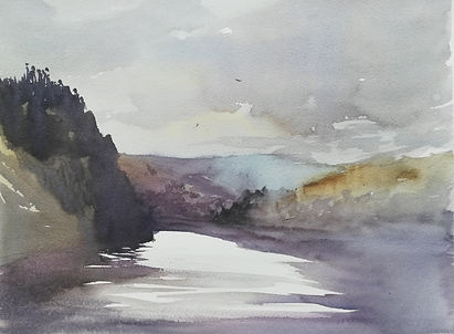 "Original Watercolour Painting For Sale. Painted en plein air. Elan Valley Reservoir Lake Mountains. 11"" x 15"""