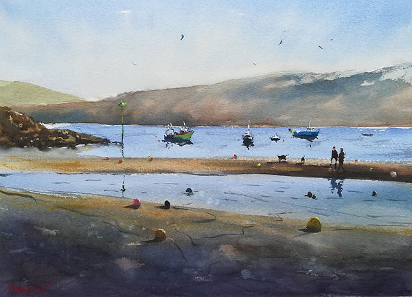 """Original Watercolour Painting For Sale. New Quay Beach at low tide. New Quay, Ceredigion, West Wales, UK. Seascape beach scene figures dogs. 11"""" x 15"""""""