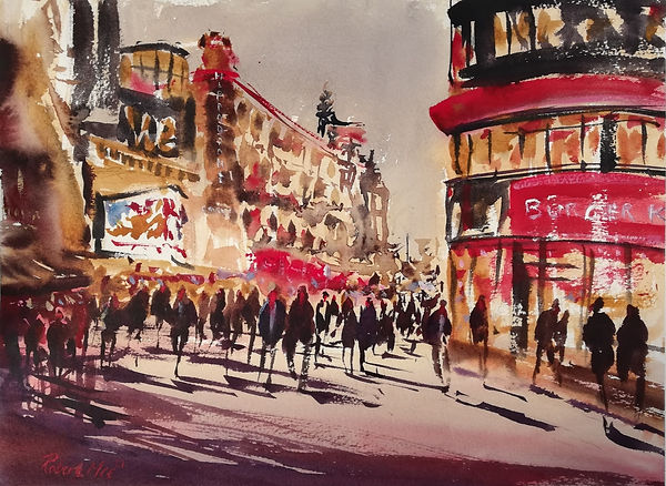 """Original Watercolour Painting For Sale. Special Edition inspired by the Monopoly board game. 'Leicester Square' London Cityscape. 11"""" x 15"""""""