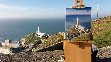 "Original Oil Painting En Plein Air. South Stack Lighthouse, North Wales. 12"" x 16"""