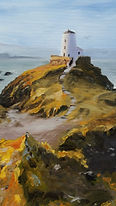 """Original Oil Painting. Lighthouse in Wales, UK. 12"""" x 16"""""""
