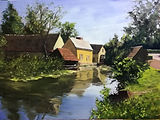 """Original Oil Painting. Mill in Central France. Landscape countryside rural France. 12"""" x 16"""""""