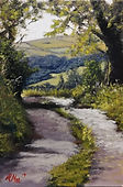 """Original Oil Painting. French country lane. 9"""" x 12"""""""