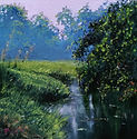 """Original Oil Painting Miniature by Robert Mee. 'Early Morning in Spring' Oil on panel 7"""" x 7"""""""