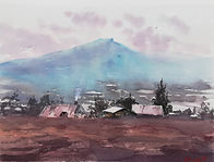 """Original Watercolour Painting. Mist over the mountain. Herefordshire. 11"""" x 15"""""""