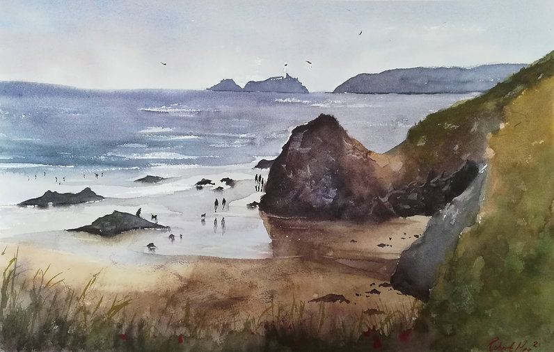"""Original Watercolour Painting For Sale. Gwithian Beach, Cornwall, UK. 22"""" x 15"""""""