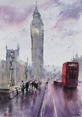 "Original Watercolour Painting. 'Over the Bridge' London cityscape Big Ben Red Bus wet streets. 11"" x 15"""