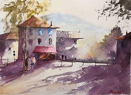 "Original Watercolour Painting. Saint Antonin Noble Val, South Central France. Rural France. 11"" x 15"""