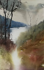 """Original Watercolour Painting Miniature by Robert Mee. 'Early morning mist over the lake' 7.5"""" x 11"""""""