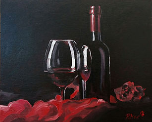 """Original Oil Painting. Still life. Red wine and glass. 10"""" x 12"""""""