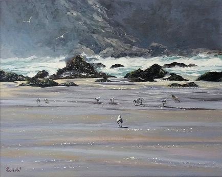 """Original Oil Painting. Gwithian beach, Cornwall, UK. Oil on panel. 20"""" x 16"""""""